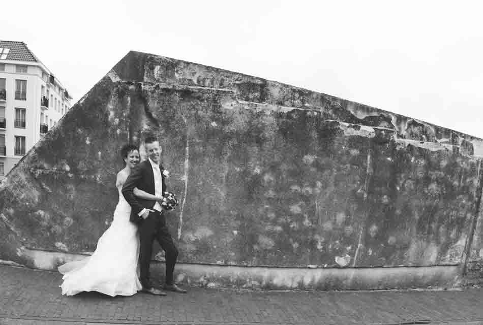 bruidsfoto vestingmuur Hellevoetsluis